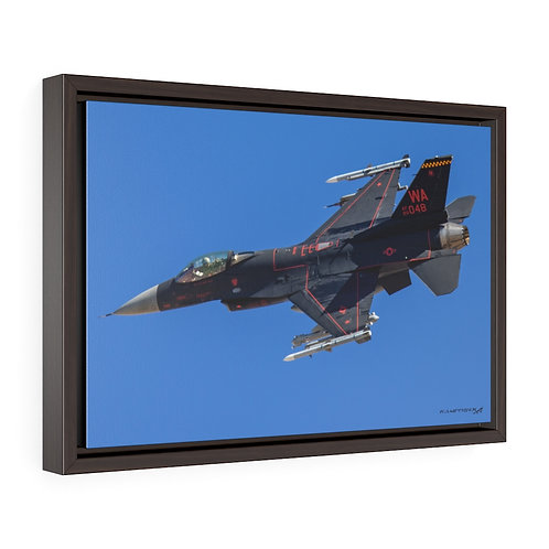 F-16C WRAITH AGGRESSOR NELLIS AFB, NEVADA Framed Premium Gallery Wrap Canvas