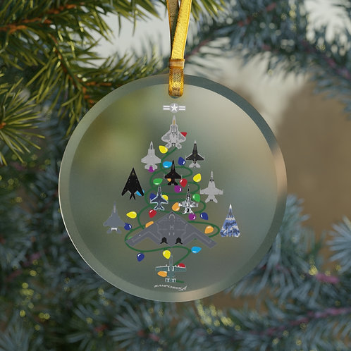 US MILITARY COMBAT AIRCRAFT CHRISTMAS TREE Glass Ornament