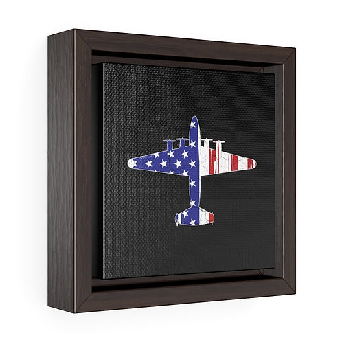 USA PATRIOTIC BOEING 314 SEAPLANE Square Framed Premium Gallery Canvas