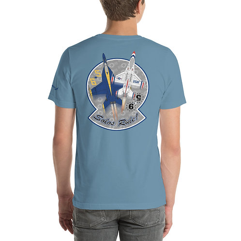 UNOFFICIAL USN BLUE ANGELS USAF THUNDERBIRDS SOLOS RULE! PREMIUM LW T-shirt
