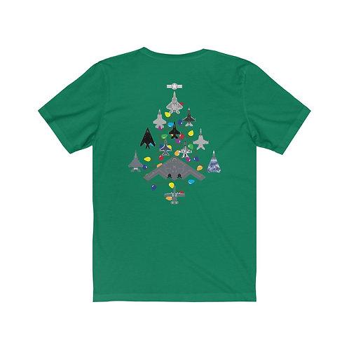 US MILITARY COMBAT AIRCRAFT CHRISTMAS TREE BACK PRNT Unisex Short Sleeve T-Shirt