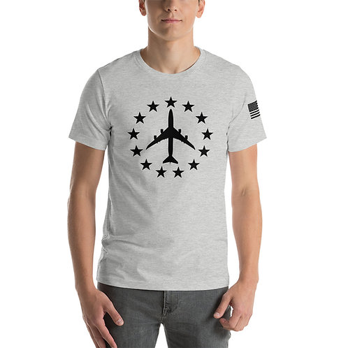 747-8 FREEDOM STARS BLACK PRINT Lightweight T-shirt