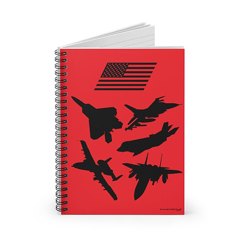 USAF FIGHTERS & ATTACK SILHOUETTES Spiral Notebook - Ruled Line