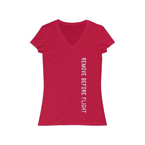 REMOVE BEFORE FLIGHT Women's Jersey Short Sleeve V-Neck Tee