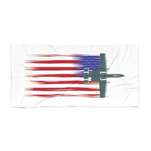 HUGE 3X6 LEFT FACING/VERTICAL A-10 DEMO TEAM FULL SEND US FLAG Beach Towel