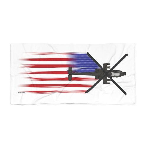 HUGE 3X6 LEFT FACING OR VERTICAL AH-64 FULL SEND US FLAG Beach Towel