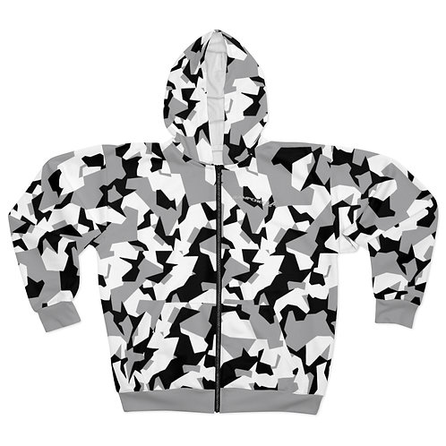 BLACK, GRAY AND WHITE SPLINTER CAMO Unisex Zip Hoodie