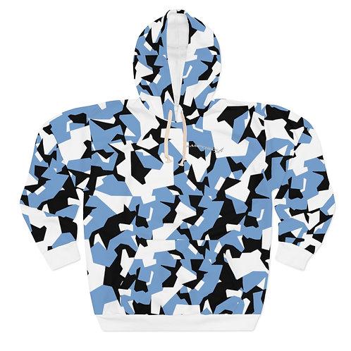 BLACK, BLUE AND WHITE SPLINTER CAMO Unisex Pullover Hoodie