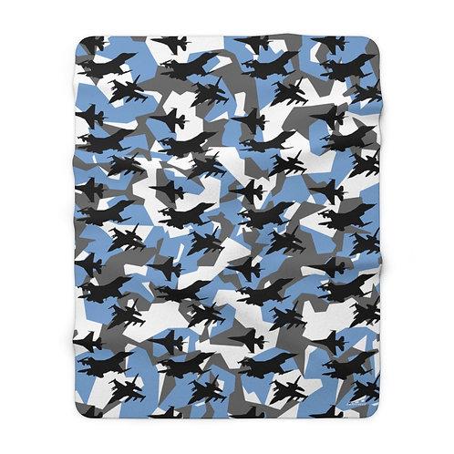 F-16 ARCTIC BLUE SPLINTER CAMO Sherpa Fleece Blanket