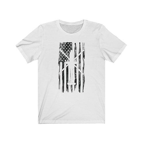 DISTRESSED BLACK PRINT AH-64 US FLAG Lightweight T-shirt