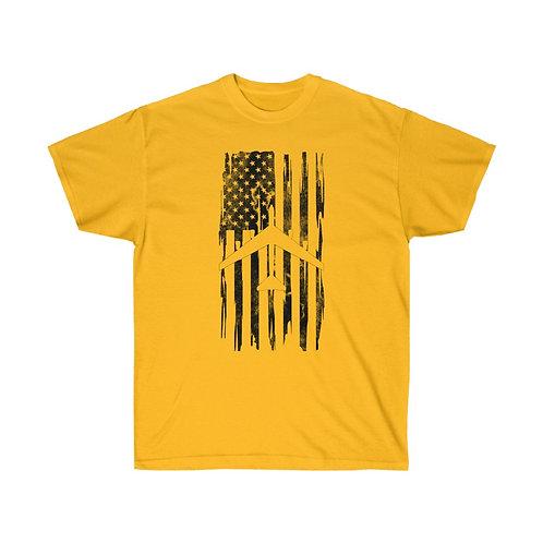 DISTRESSED BLACK PRINT B-52 US FLAG Heavyweight T-shirt