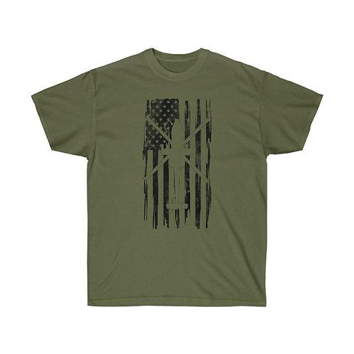 DISTRESSED BLACK PRINT AH-64 US FLAG Heavyweight T-shirt