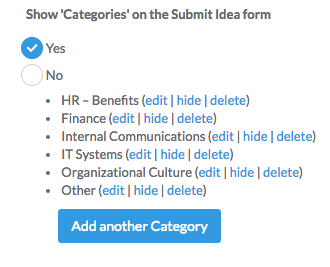 Show Categories on the Submit Idea form