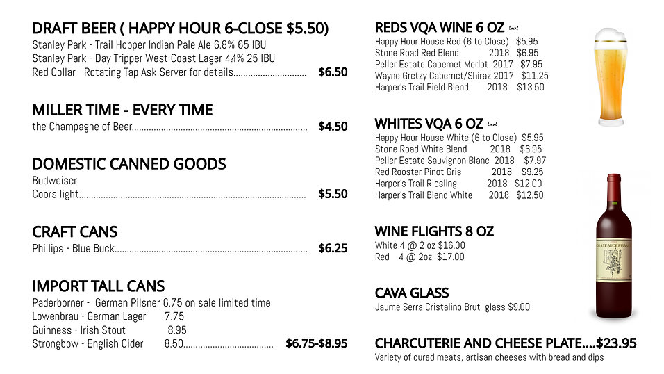 burfield beer and wine menu - Made with