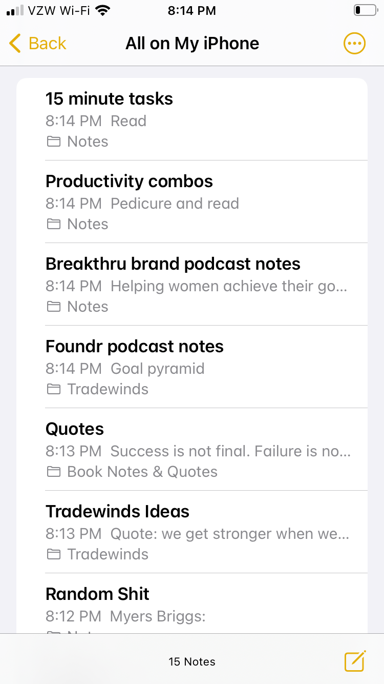 Screen shot of iPhone notes list