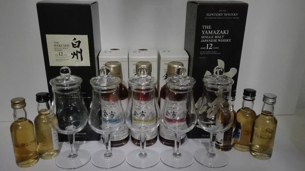 Hakushu 12, Yamazaki 12, Nikka All Malt, Nikka Miyagikyo, Nikka Yoichi, Tasting, Test, japanischer Whisky, Suntory