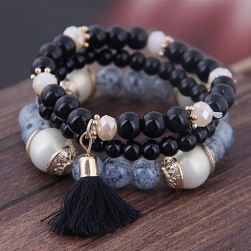 Black Bracelet Set