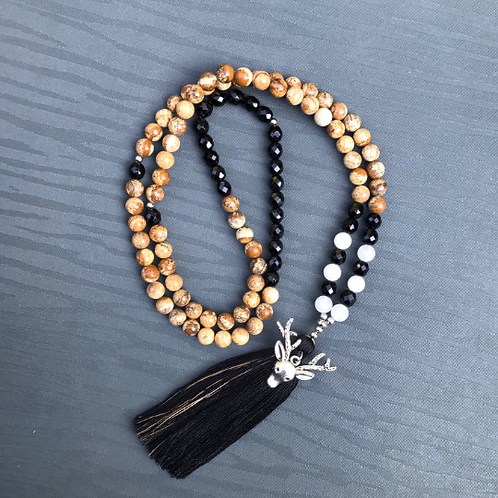Onyx, Picture Jasper and Snow Quartz 108 Bead Mala Necklace with Deer Charm