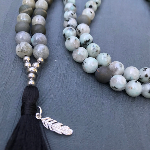 Labradorite and Jasper 108 Bead Mala Necklace with Sterling Silver Feather Charm