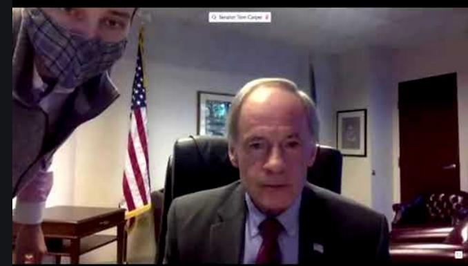 US Senator Tom Carper's profanity after frustration over technical glitch