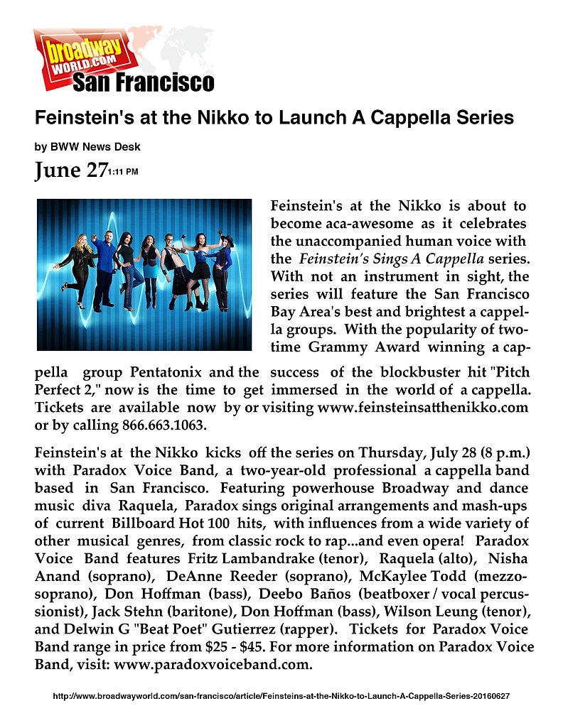 Broadway World Buzz - Paradox Voice Band's Feinstein's Concert - San Francisco