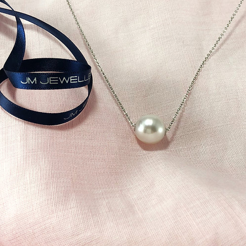 9ct White Gold and South Sea Pearl Slider Necklace