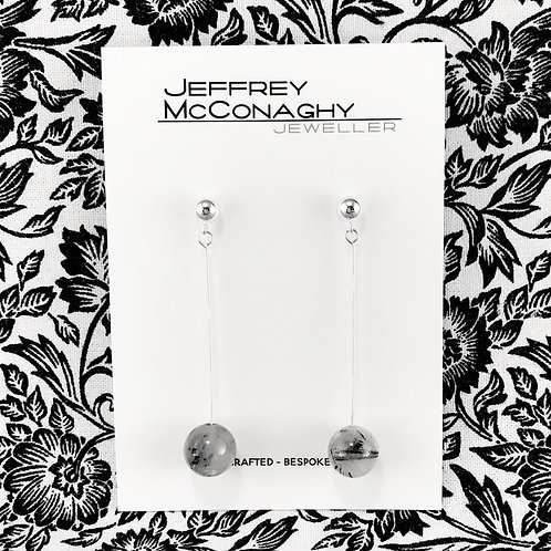 Tourmilated Quartz & Silver Drop Earrings