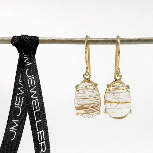 9ct Yellow Gold & Rutile Quartz Earrings