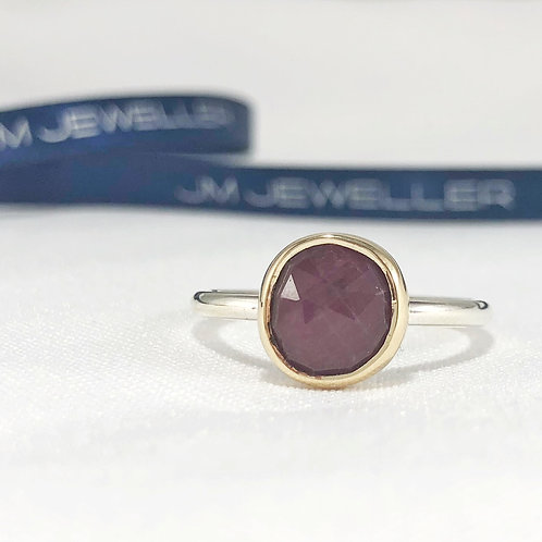 9ct Yellow Gold and Sterling Silver & Natural Ruby Ring