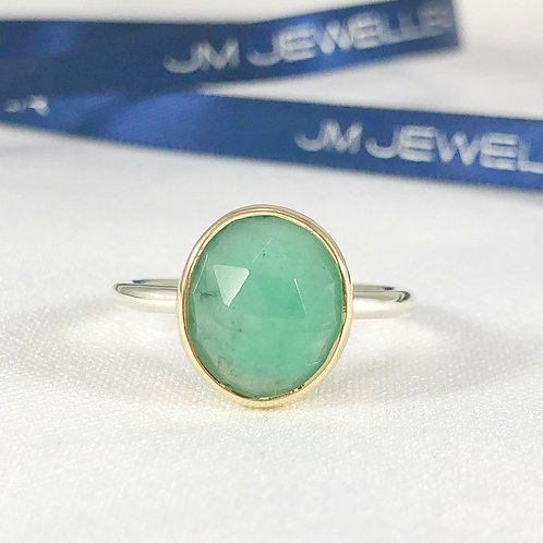 9ct Yellow Gold and Sterling Silver & Natural Emerald Ring (Large)