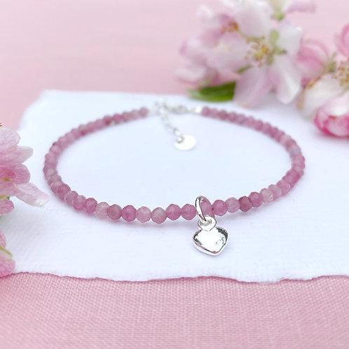 Pink Tourmaline Gemstone Bracelet