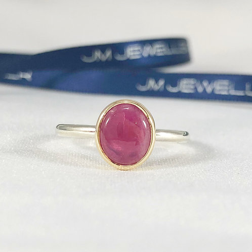 9ct Yellow Gold and Sterling Silver Pink Sapphire Ring