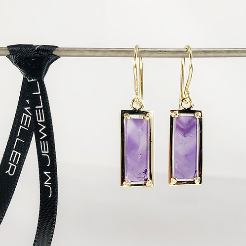 9ct Yellow Gold Natural Amyethst Tablet Earrings