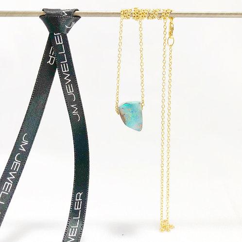 Queensland Boulder Opal Bead & 9ct Gold Necklace