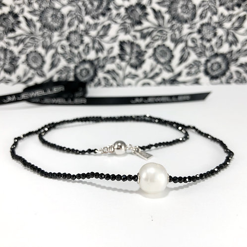 Black Spinel and South Sea Pearl Strand
