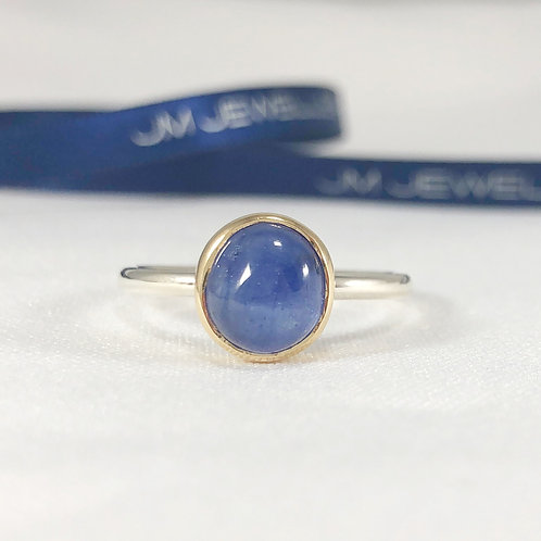 9ct Yellow Gold and Sterling Silver Blue Sapphire Ring