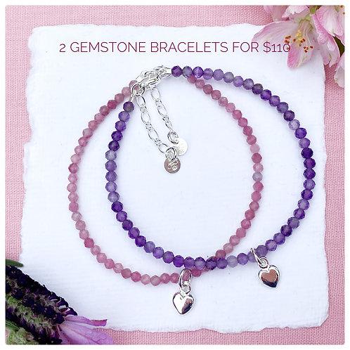 Stackable Gemstone Bracelets (2 x Bracelets)