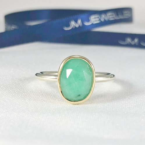 9ct Yellow Gold and Sterling Silver & Natural Emerald Ring (Medium)