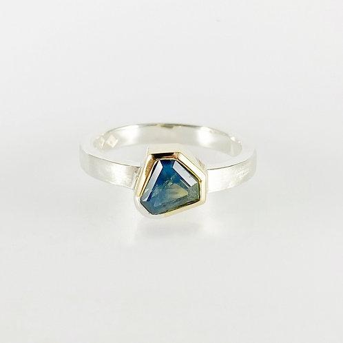 Bell-cut Natural Australian Parti Sapphire Ring