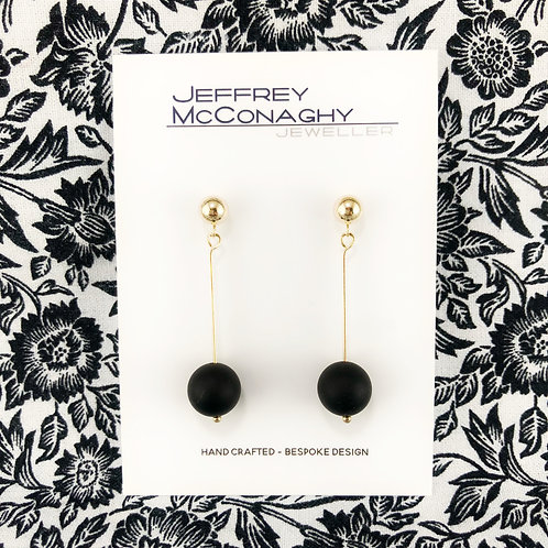 Matte Onyx & 9ct Yellow Gold Drop Earrings