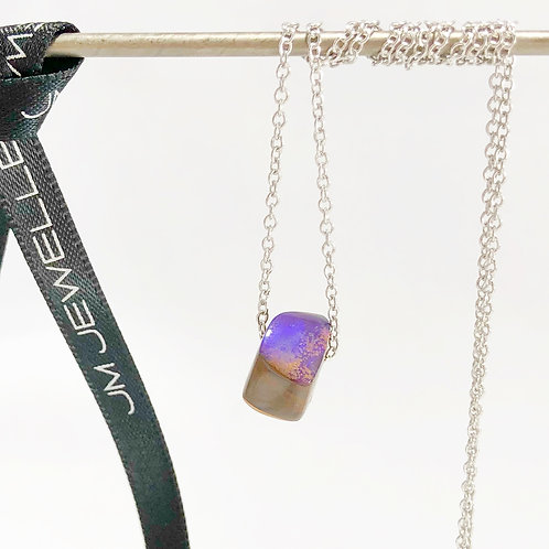 Deep Blue Boulder Opal Bead & 9ct White Gold Necklace
