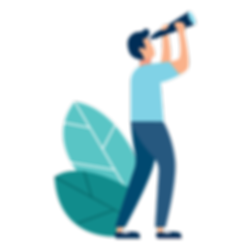 graphic of man using a telescope
