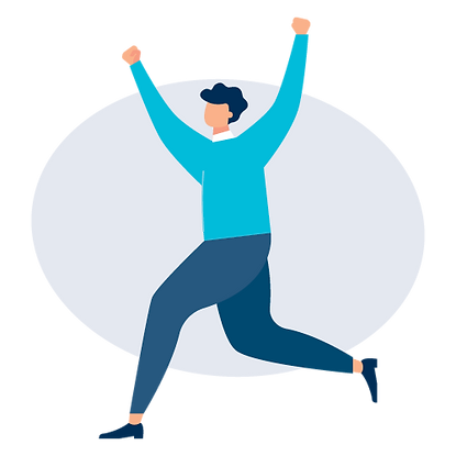 graphic of man celebrating with a leap