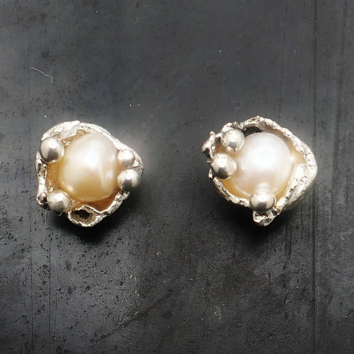 Sterling Silver,and Freshwater Pearl Earrings