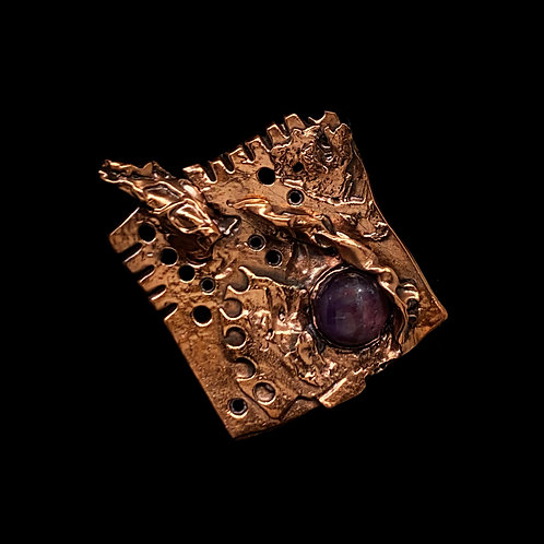 Amythyst and Copper Pin