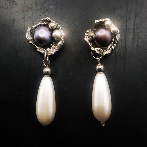 Sterling Silver, Gray, and Pear Pearl Earrings