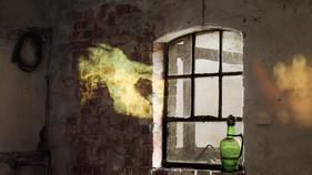 Projektion im alten Stall