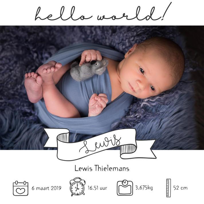 White square birth announcement - rectan