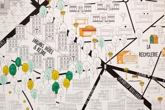 Bureaux aménagés comme à la maison chez DecoWorkers et Splandeed à Senlis, décorés par Coralie Vasseur, agence Carnets Libellule - carte murale à colorier