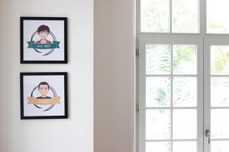Bureaux aménagés comme à la maison chez DecoWorkers et Splandeed à Senlis, décorés par Coralie Vasseur, agence Carnets Libellule - portraits d'équipe illustrés façon Splandeed